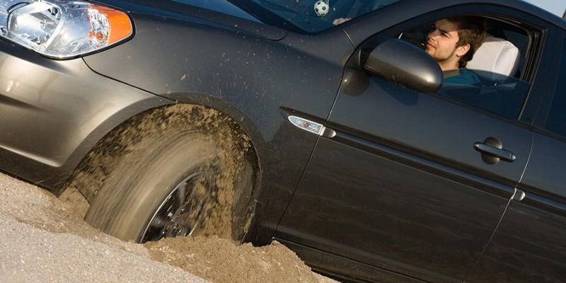 Car stuck in sand